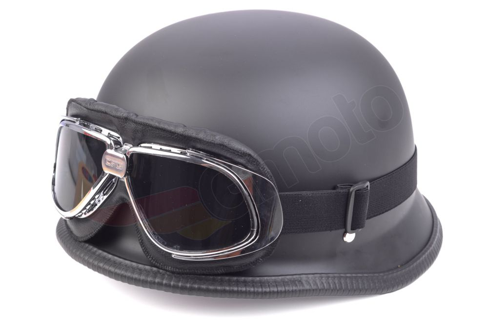 retro helm oldtimer motorradhelm xxl mit motorradbrille. Black Bedroom Furniture Sets. Home Design Ideas